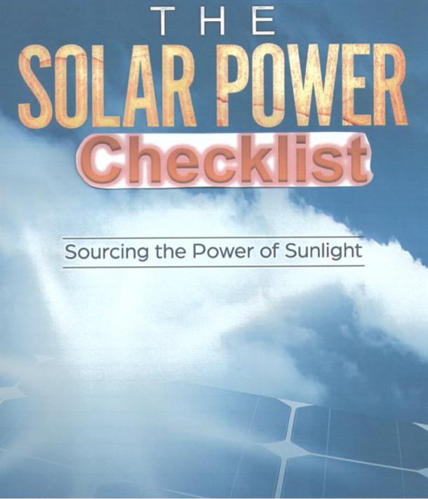 SunPowerSource Solar Checklist