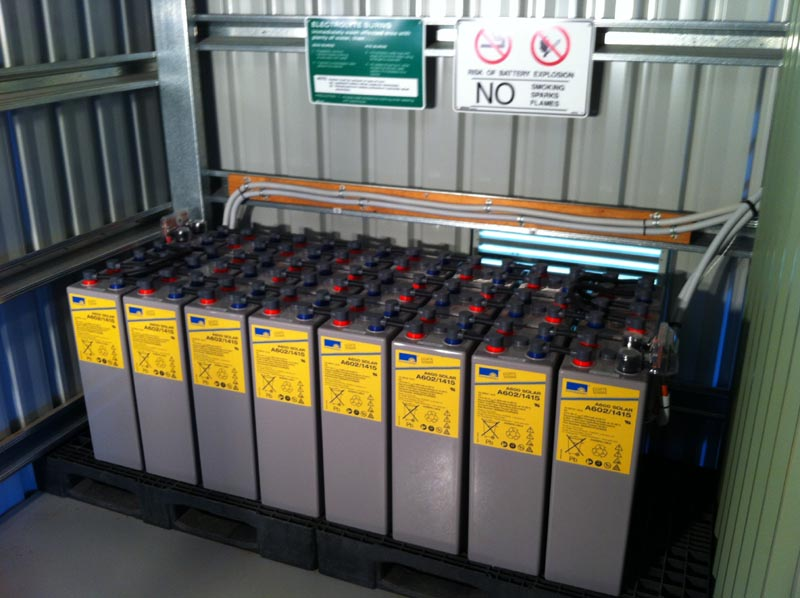 solar battery storage - a bank of batteries